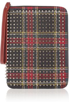 Christian Louboutin | Cris spiked twill iPad case | NET-A-PORTER.COM