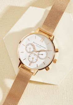 Wrist Opportunity Watch in Rose Gold & White - Big, @ModCloth