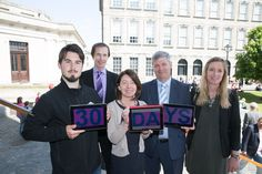 Pictured at the countdown, from left are Conor Clancy, SU Welfare Officer, Dr Pat Doorley, Chairman, ASH Ireland, Prof Linda Hogan, Vice-Provost, Dr David McGrath, Chair of Healthy Trinity: Tobacco Policy Group and Director of Trinity's Health Service and Martina Mullin, Trinity's Health Promotion Officer.