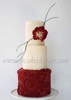 Rose Red Buttercream Wedding Cake - Cake by Shannon Bond Cake Design Gorgeous Cakes, Pretty Cakes, Amazing Wedding Cakes, Amazing Cakes, Buttercream Rosette Cake, Ruffle Cake, Bolo Cake, Red Cake, Cake Wrecks