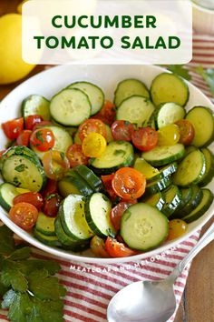 Cucumber Tomato Salad with a light lemon dressing is a super easy side dish that takes minutes to make. Enjoy this refreshing salad recipe all summer long! Tomato Salad Recipes, Salad Recipes For Dinner, Easy Salad Recipes, Healthy Recipes, Refreshing Salad Recipe, Creamy Cucumber Salad, Side Dishes Easy, Side Dish Recipes, Bbq Appetizers