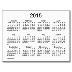 Black and White 2015 Mini Calendar Post Card Design from Calendars by Janz