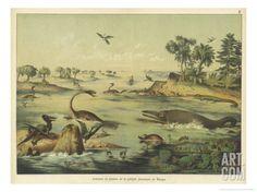 Animals and Plants of the Jurassic Era in Europe - Ferdinand Von Hochstetter Dinosaur Posters, Dinosaur Pics, Prehistoric Creatures, Prehistoric Age, Prehistory, Poster Size Prints, Find Art, Giclee Print, Canvas Prints