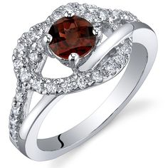 CloseoutWarehouse Sterling Silver Simulated Ruby Cubic Zirconia Swirl Design Heart Ring