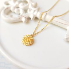 gold flower charm necklace, circle necklace, floral necklace, nature, plant, gold charm necklace, charm necklace, stacked necklace by Sayaestics on Etsy