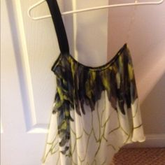 Charlotte Russe top Sheer asymmetrical flowey top. Peacock like print. Wore only once, excellent condition. Can be worn with or with out the black strap (Not removable though) Charlotte Russe Tops Blouses