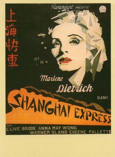 Carte postale française des années 1990 reproduisant une affiche (du même pays) pour le film de Josef von Sternberg Shanghai Express (1932).
