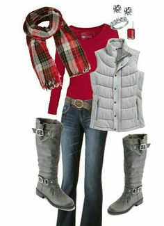 Find More at => http://feedproxy.google.com/~r/amazingoutfits/~3/NH7w1veO-JM/AmazingOutfits.page Gray Boots, Grey Boots Outfit, Suede Boots, Scarf Vest, Plaid Vest, Red Plaid, Polyvore Winter Outfits, Grey Vest, Red Outfits