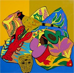 Screenprint animals contemporary art colorful pop art | Lobster by artist Hunt Slonem