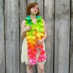 Scarf. Ruffle Scarf. Felted Scarf. Gradient Scarf. Ombre Scarf. Handmade Merino Wool Scarf by HandiCraftKate on etsy $65