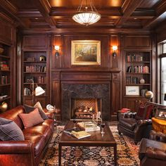 Traditional Family Room Design, Pictures, Remodel, Decor and Ideas   Love the richness of the wood and the leather.  Pass the cognac! (I've never had cognac)