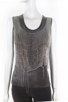 Cecilia de Bucourt Grey Tie Dye with Silver Hand Knitted Chain Top