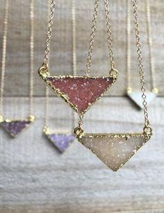 Druzy Necklace, Druzy Triangle Necklace, Gemstone Necklace, Druzy Jewelry, Drusy Necklace, Druzy Quartz