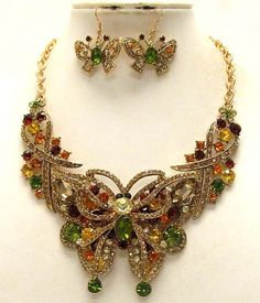 'Luxury Victorian Style ~ Austrian Crystal Butterfly Set' is going up for auction at  5pm Sun, Jul 7 with a starting bid of $12.