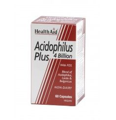 Acidophilus (4 Billion) Capsules from HealthAid are formulated using special strains of probiotics cultures on a diary free medium. Fructo-Oligosaccharides help to support the growth and proliferation of bacterial strains in the intestinal tract. People using antibiotics, suffering from stomach discomfort, indigestion or persistent yeast infections such as Candida are well advised to include Acidophilus Plus from HealthAid as part of their daily regime.