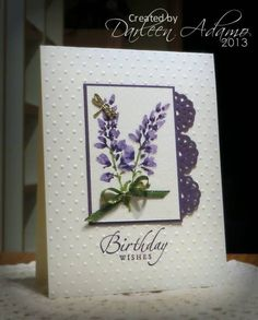 handmade card: Birthday Prints by darleenstamps ... watercolor look with lupine as focal point ...luv the circle cuts forming a border only on the right side ... lovely!! ... Stampin' Up!