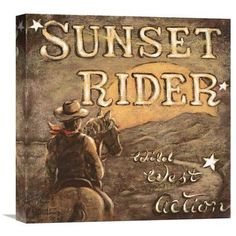 Global Gallery 'Sunset Rider' by Janet Kruskamp Vintage Advertisement on Wrapped Canvas Size: