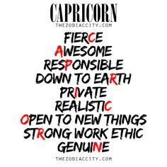 Describing Capricorn. For more information on the zodiac signs, click here.