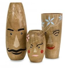 Whimsical and Earth friendly, the Alvaro family vases are hand crafted from mango wood and are one of many eco-conscious sets available exclusively at IMAX.