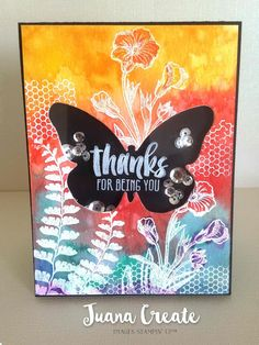 handmade thank you card by Juan Ambida Independent Stampin' Up!® Demonstrator Australia ... bright and beautiful water colors over white embossed line art ... shaker card with sequins in negative space butterfly ... Stampin' Up!
