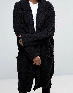 ASOS | ASOS Extreme Oversized Duster Coat In Black Borg