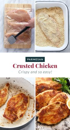 This Parmesan Crusted Chicken is crispy on the outside and tender on the inside. Skip the mess of frying and make this Baked Parmesan Crusted Chicken Breast! Baked Parmesan Crusted Chicken, Baked Chicken, Boneless Chicken, Healthy Chicken, Grilled Chicken, Real Food Recipes, Cooking Recipes, Yummy Food, Meal Recipes