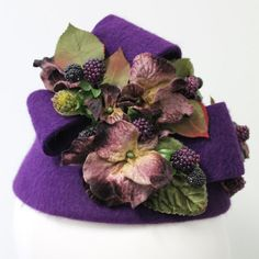 Items similar to Velvet vintage pansies and berries on a hand blocked felt toque on Etsy Vintage Velvet, Pansies, Berries, Felt, Etsy, Felting, Bays, Pansy Flower, Berry