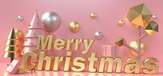 Gold Lettering Merry Christmas Surrounded By Christmas Trees And Gift Boxes On A Pastel Pink Background Christmas Doodles, Merry Christmas Greetings, Christmas Tree With Gifts, Gold Christmas Tree, Christmas Frames, Christmas Banners, Christmas Background Images, Pink Background Images, Pastel Background