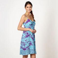 71baa6a2b239e Mantaray Aqua floral tie front dress