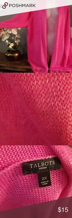 Ladies PINK Talbots plus sized open sweater Excellent condition. Small spot as seen in second picture. Non smoking home. #3 Talbots Sweaters