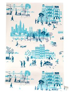 Morning in Manhattan wallpaper in blue // #NYC #manhattan #wallpaper #blue