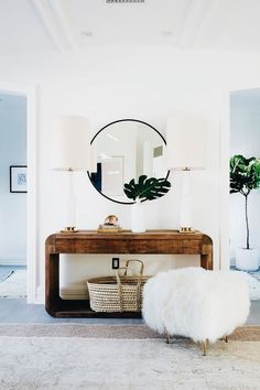 Entryway table with brown and green accents