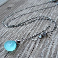 The Soul Sister Necklace: Aqua blue chalcedony + labradorite gemstones  A gorgeous lariat necklace with a story!