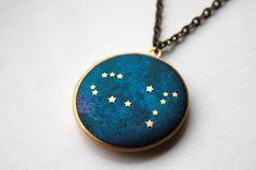 Gemini Constellation antique brass locket astrology by HiddenTales