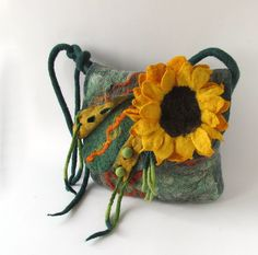 Felted handbag - green sunflower | Flickr - Photo Sharing!