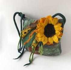 Felted handbag - green sunflower | Flickr - Photo Sharing!