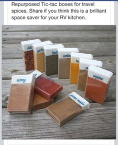 A neat way to store spices for RVing! Great idea...but I'd have to eat a lot of tic tacs :)