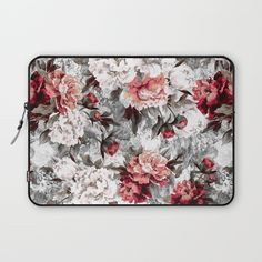 Check out society6curated.com for more! @society6 #floral #flowers #pattern #laptop #computer #case #sleeve #electronic #accessory #accessories #fashion #style #student #college #gift #idea #fun #unique #art #artsy #design #cool #awesome #botanical #white #grey #gray #pink #red