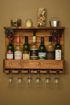 Rustic Wine Rack 7 Bottle 6 Glass Holder Shelf Wall Bar Liquor Cabinet Light…