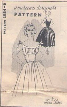 MOMSPatterns Vintage Sewing Patterns - Mail Order 1084 D Vintage 50's Sewing Pattern AMAZING American Designer TINA LESER Rockabilly Party Gown, Pleated Shirred Bust, Off the Shoulder Ties, Cinched Midriff, Full Circular Skirt Evening Gown
