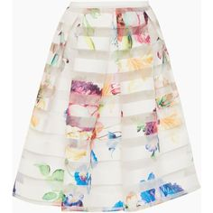Ted Baker Hoona Tapestry Floral Burnout Skirt found on Polyvore featuring skirts, bottoms, pastel yellow, women, floral print skirt, ted baker, flower print skirt, yellow skirt and pastel skirt