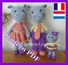 Haken, patroon, patroon, tutorial, Amigurumi, nijlpaard familie