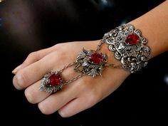 Silver Slave Bracelet  Red Siam Swarovski Silver by LeBoudoirNoir, $195.00