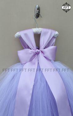 Vestido de niña de las flores lavanda luz púrpura vestido con