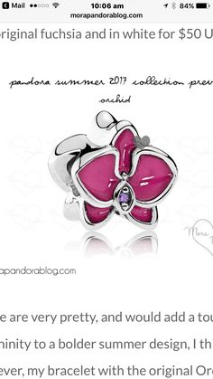 Pandora Orchid Radiant Orchid Enamel And Purple Cz Sale Clearance Pandora Rings Uk, Charms Pandora, Pandora Beads, Pandora Jewelry, Pandora Summer 2017, Pink Orchids, Fashion Bracelets, Jewelry Stores, Black Friday