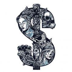 Flash Tattoos, Head Tattoos, Skull Tattoos, Sleeve Tattoos, Cool Tattoos, Skull Tattoo Design, Tattoo Design Drawings, Tattoo Sketches, Stencils Tatuagem