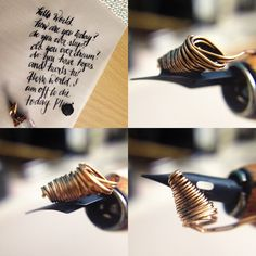 Dip pen reservoir coil, this time on a smaller nib. The coil can be rested at an angle. #DIY #penreservoir #RicaEspiritu