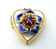 Vintage Pansy Pendant Locket Rhinestone by PrettyGemsLovedAgain, $10.00