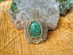 Wire Wrap Pendant, Chrysocolla Necklace, Wire Weaved Jewelry, Wire Wrapped Jewelry, Healing Crystals and Stones, Wire Wrap Necklace by CrystalDestinies on Etsy