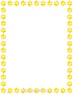 free printable page borders school | paw prints paper border, Powerpoint templates